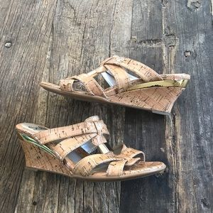 Sofft Cork and Gold Vegan Wedge Heel Size 7